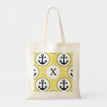 yellow stripes , blue anchor nautical pattern tote bag