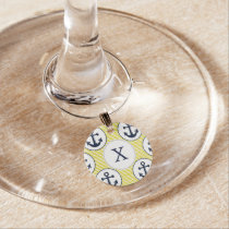 yellow stripes , blue anchor nautical pattern wine glass charm
