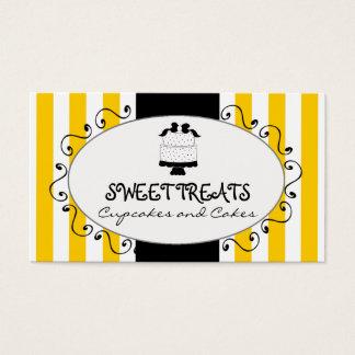 Yellow Stripes Cupcake Cake Bakery Business Card