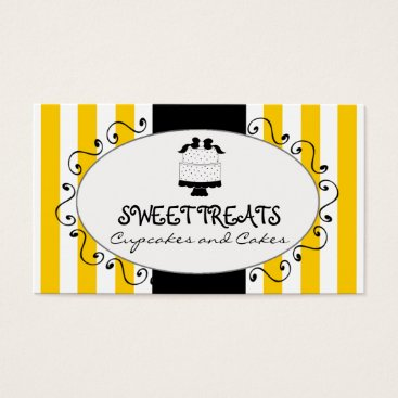 Professional Business Yellow Stripes Cupcake Cake Bakery Business Card