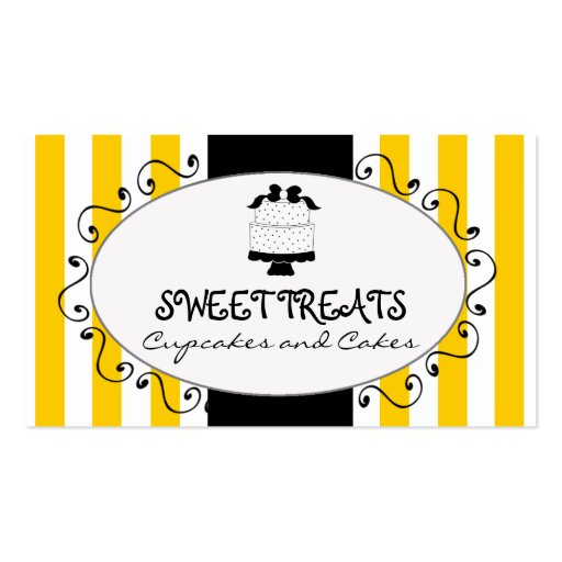 Yellow Stripes Cupcake Cake Bakery Business Card Template