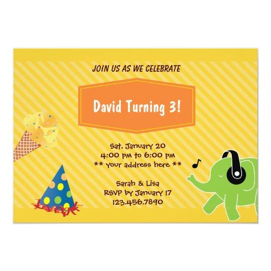 Yellow Stripes Elephant Birthday Party Invitation
