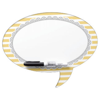 Yellow Stripes Grey Lace Border Dry Erase Boards