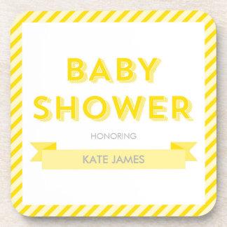 Yellow Stripes Modern Baby Shower Coaster