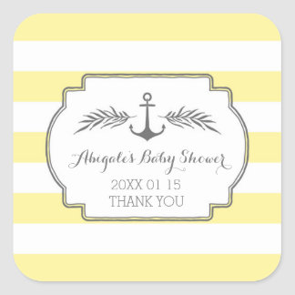 Yellow Stripes Nautical Baby Shower Favor Sticker