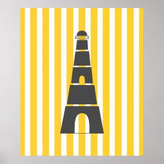 Yellow Stripes Nautical Lighthouse Poster