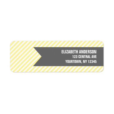 heartlocked Yellow Stripes Pattern Address Labels