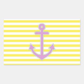 Yellow Stripes Purple Anchor Nautical Rectangular Sticker