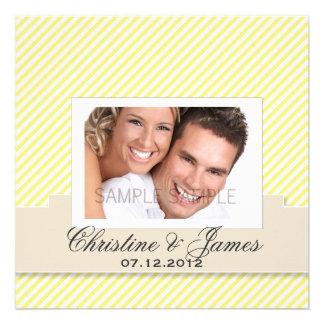 Yellow stripes wedding invitation & your photo