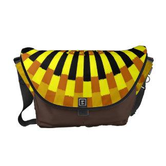 Yellow Stripey Sun Burst Abstract Art Courier Bag