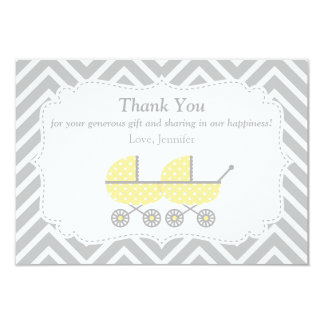 Yellow Strollers Twins Baby Shower Thank You Card