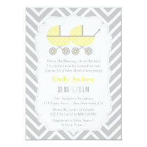 Yellow Strollers Twins Chevron Baby Shower Invites