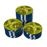 Yellow stylish pattern set of poker chips