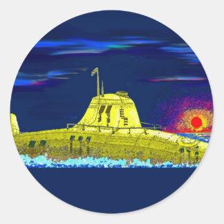 Yellow submarine classic round sticker