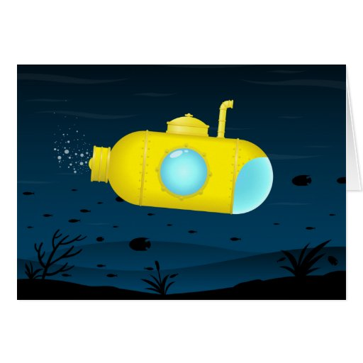 Yellow submarine finds heart greeting card