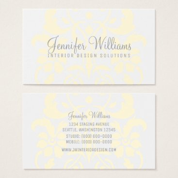 Professional Business Yellow Subtle Damask Business Card