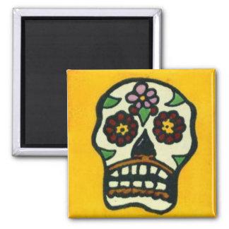 Yellow Sugar Skull Fridge Magnets