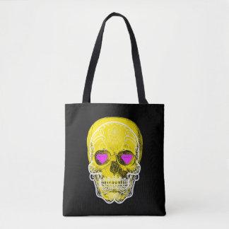 Yellow Sugar Skull Tote