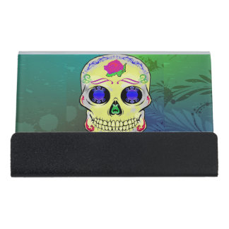 Yellow Sugar Skull with Purple Rose Desk Business Card Holder