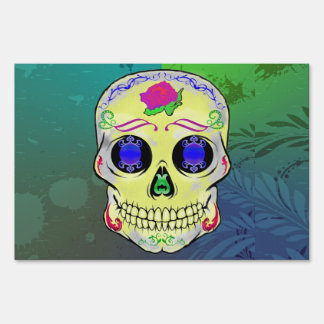 Yellow Sugar Skull with Purple Rose Lawn Sign