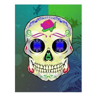 Yellow Sugar Skull with Purple Rose Postcard