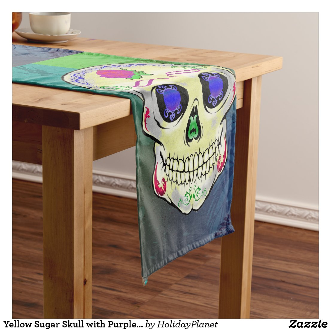 Yellow Sugar Skull with Purple Rose Short Table Runner