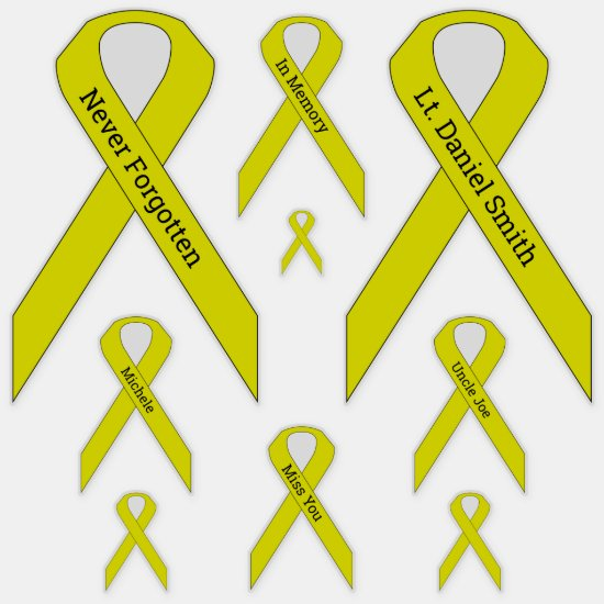 [Yellow] Suicide, POW/MIA Awareness Ribbon Vinyl Sticker
