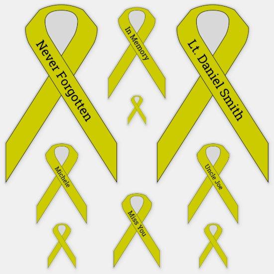 [Yellow] Suicide, POW/MIA Awareness Ribbon Vinyl Sticker