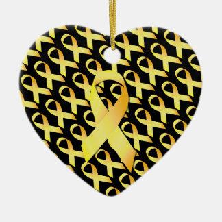 Yellow Suicide Prevention Ribbon Ceramic Ornament