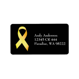 Yellow Suicide Prevention Ribbon Address Label