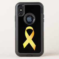 Yellow Suicide Prevention Ribbon OtterBox Defender iPhone X Case