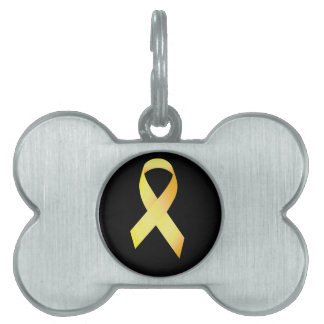 Yellow Suicide Prevention Ribbon Pet Name Tag