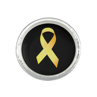 Yellow Suicide Prevention Ribbon Photo Ring