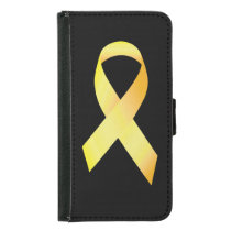 Yellow Suicide Prevention Ribbon Wallet Phone Case For Samsung Galaxy S5