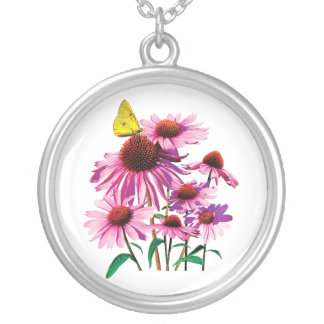 Yellow Sulpher Butterfly on ConeFlower Round Pendant Necklace