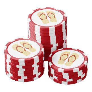 Yellow Summer Beach Party Flip Flops Poker Chips