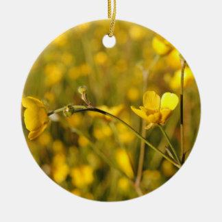 Yellow summer meadow ceramic ornament