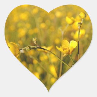 Yellow summer meadow heart sticker