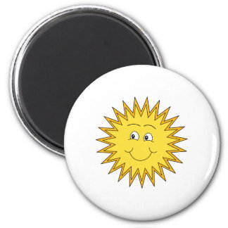 Yellow Summer Sun with a Happy Face. 2 Inch Round Magnet