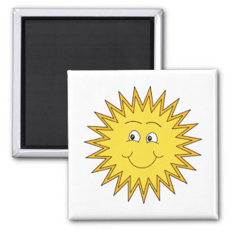 Yellow Summer Sun with a Happy Face. 2 Inch Square Magnet