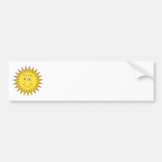 Yellow Summer Sun with a Happy Face. Bumper Sticker