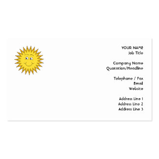 Yellow Summer Sun with a Happy Face. Business Card Template