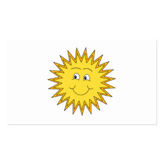 Yellow Summer Sun with a Happy Face. Business Card Templates