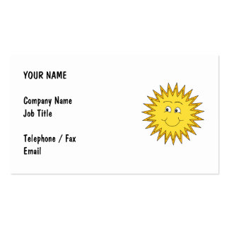 Yellow Summer Sun with a Happy Face. Business Card
