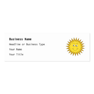 Yellow Summer Sun with a Happy Face. Business Cards