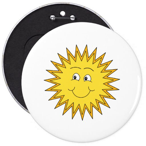 Yellow Summer Sun with a Happy Face. 6 Inch Round Button