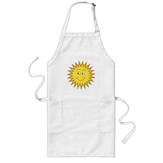 Yellow Summer Sun with a Happy Face. Long Apron