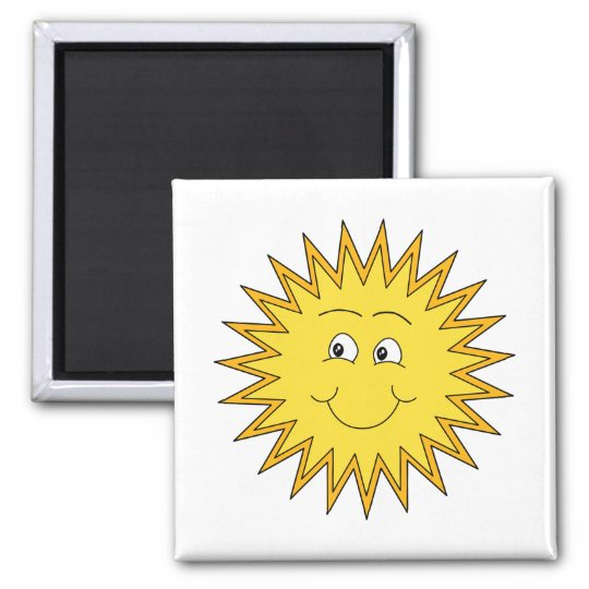 Yellow Summer Sun with a Happy Face. Magnet