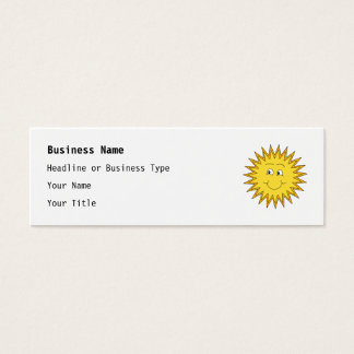 Yellow Summer Sun with a Happy Face. Mini Business Card