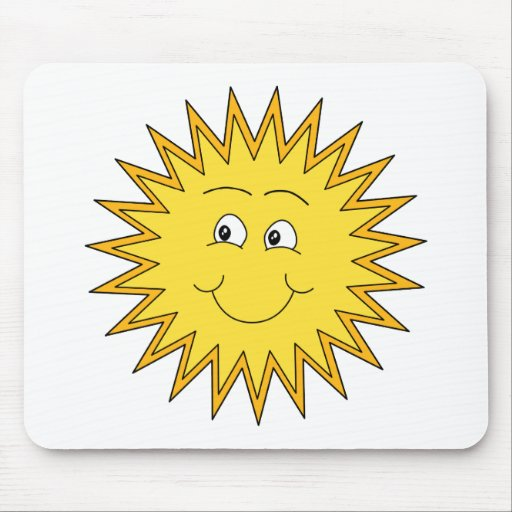 Yellow Summer Sun with a Happy Face. Mouse Pad